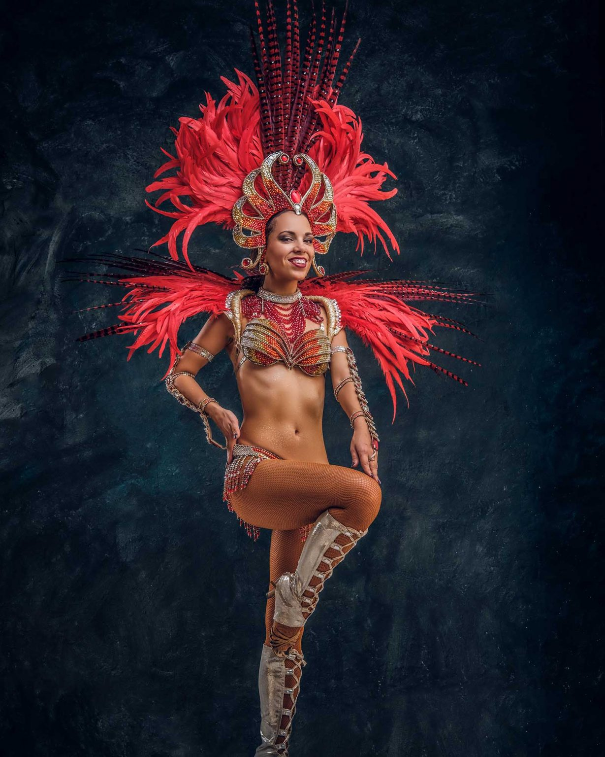 beautiful brazil dancer in red feather costume is HYH3L4L
